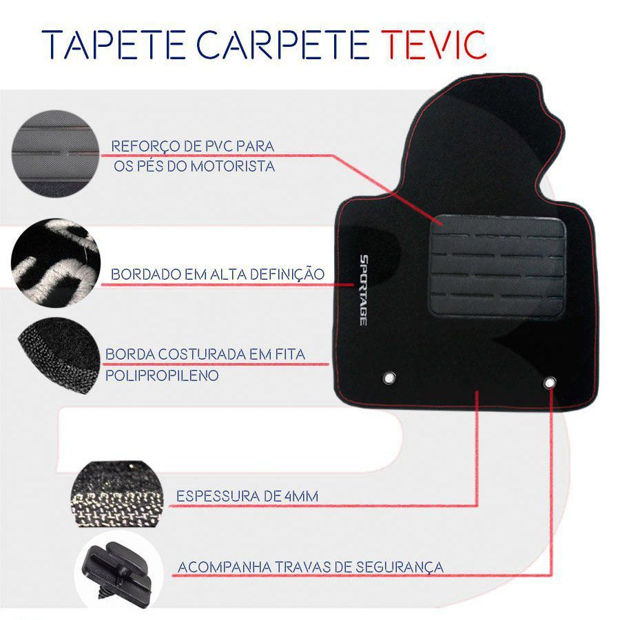 Tapete Carpete Tevic Chery Tiggo2 Tiggo 2 Automático 2018 Em Diante