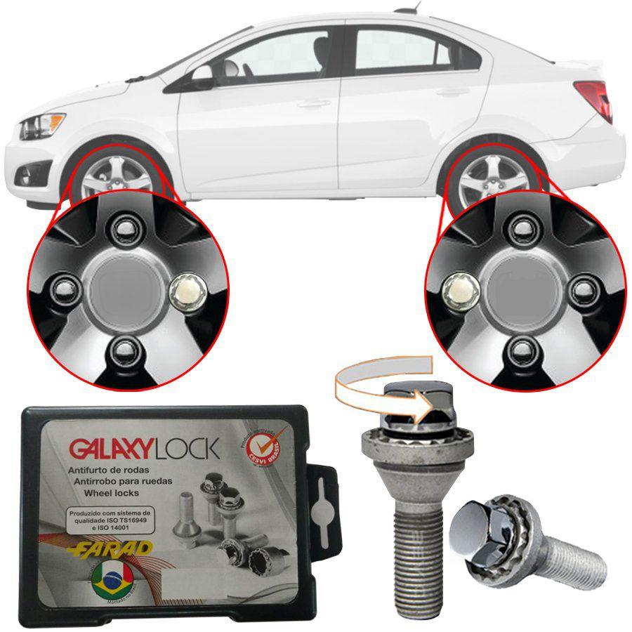 Trava Antifurto Anti Roubo de Roda Parafuso Porca Farad Galaxylock Chevrolet Sonic Com Mais de 10.000 Segredos H/M
