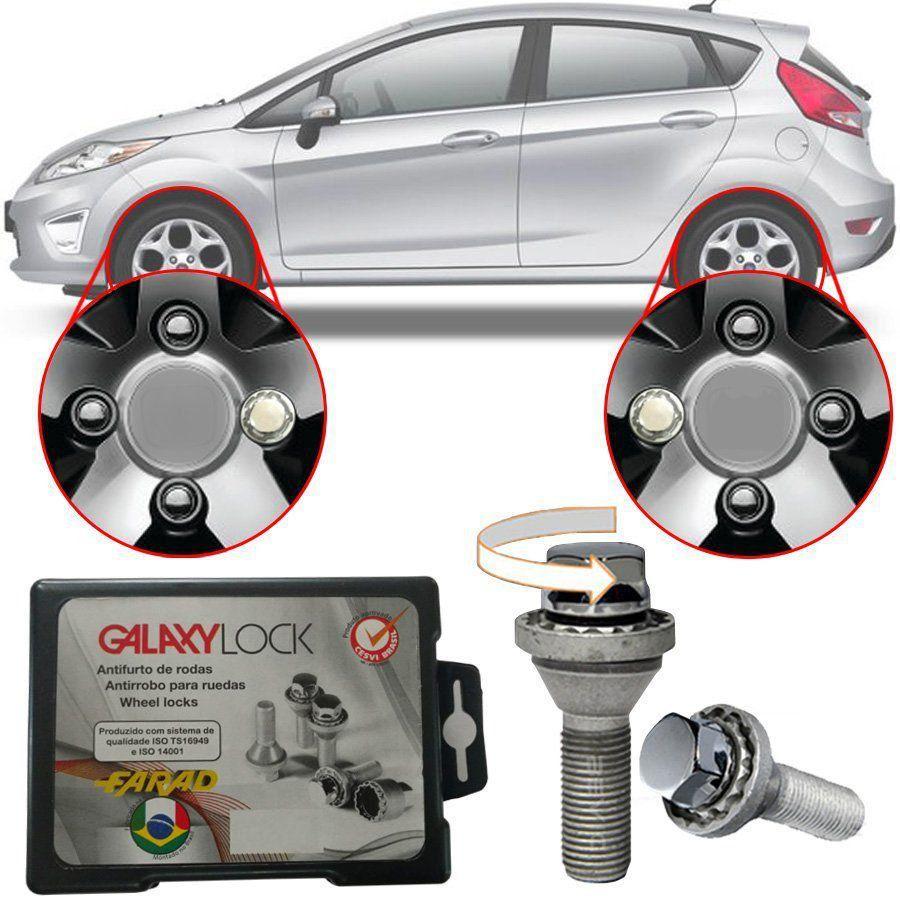 Trava Antifurto Anti Roubo de Roda Parafuso Porca Farad Galaxylock Ford Fiesta Hatch New 2012 à 2018 Com Mais de 10.000 Segredos HA/M