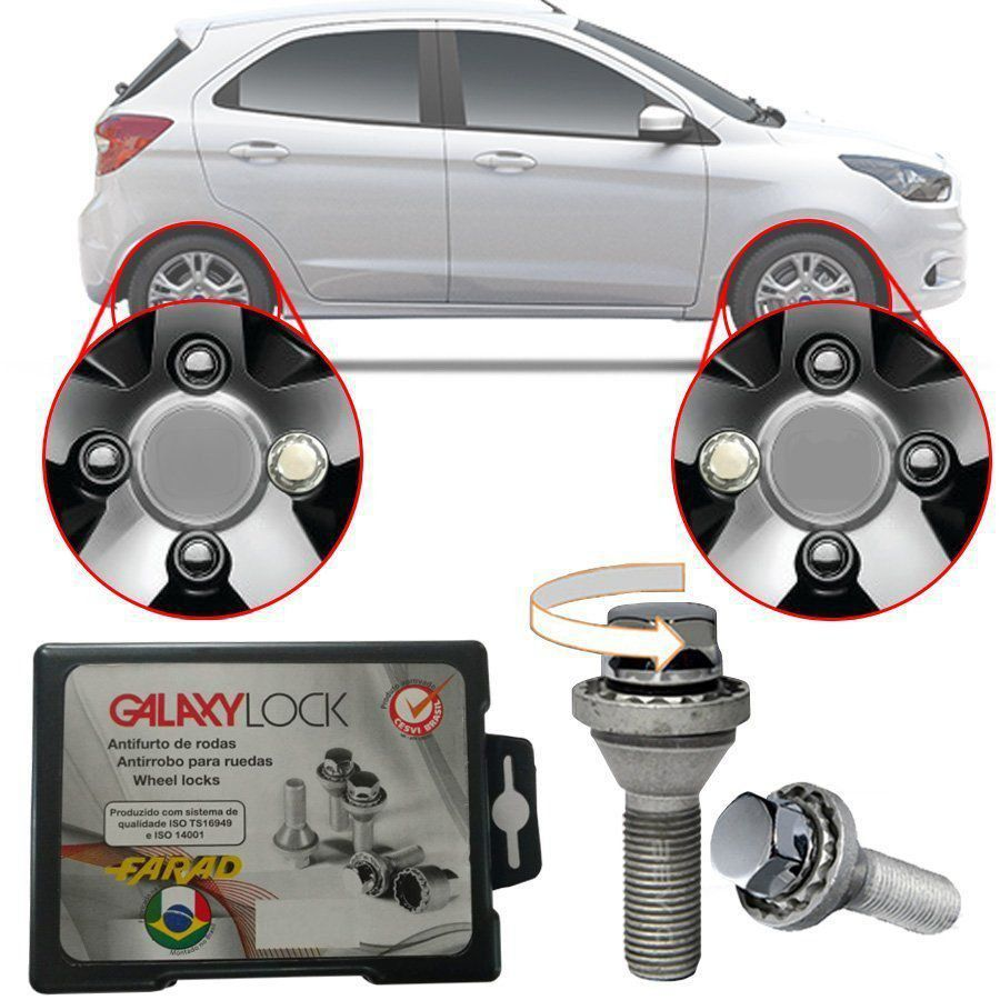 Trava Antifurto Anti Roubo de Roda Parafuso Porca Farad Galaxylock Ford KA Com Mais de 10.000 Segredos HA/M