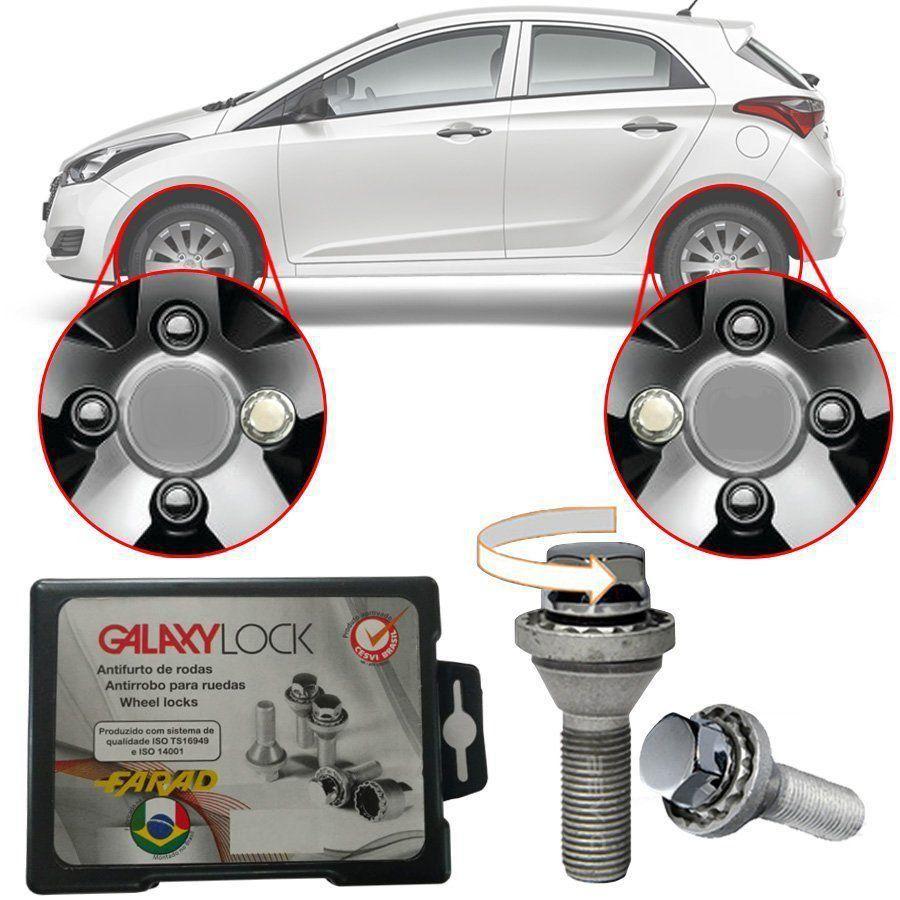 Trava Antifurto Anti Roubo de Roda Parafuso Porca Farad Galaxylock Hyundai HB20 2013 à 2019 Com Mais de 10.000 Segredos H1/M