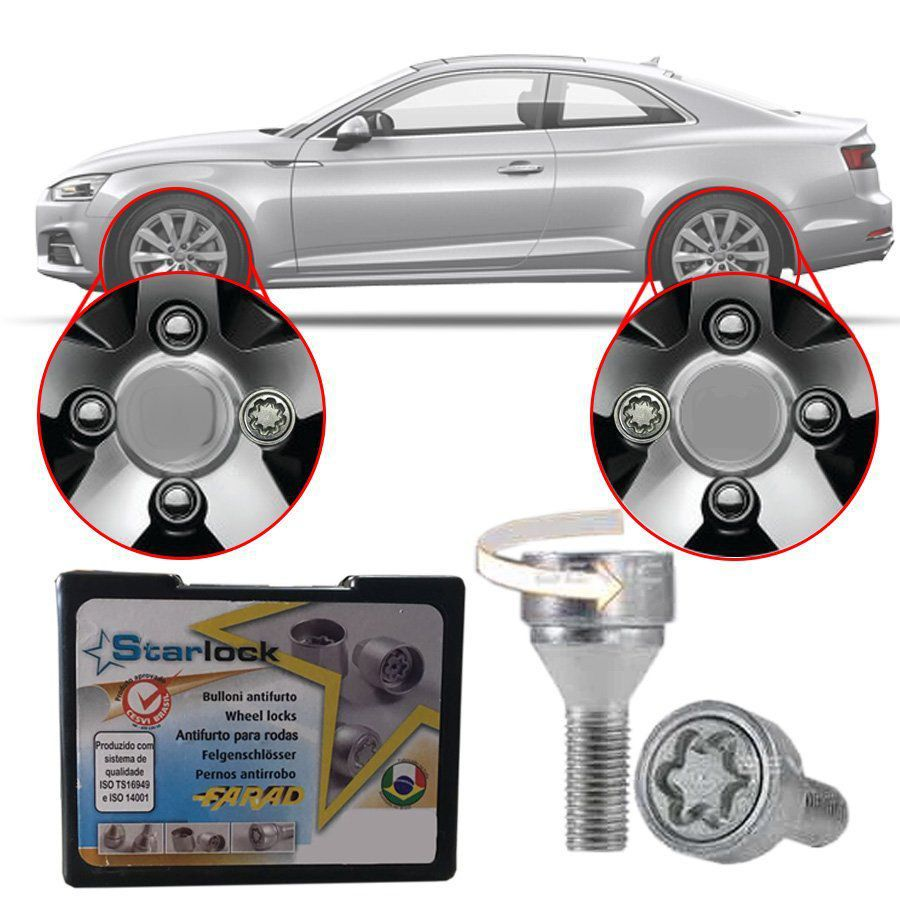 Trava Antifurto Anti Roubo de Roda Parafuso Porca Farad Starlock Audi A5 2009 10 11 12 13 14 15 16 18 Com Mais de 10.000 Segredos ZA/E