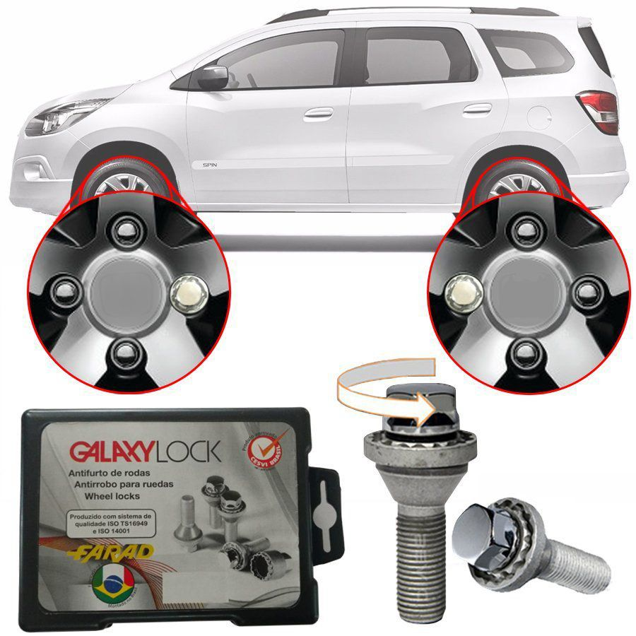 Trava Antifurto Anti Roubo de Roda Parafuso Porca Farad Galaxylock Chevrolet Spin 2013 à 2019 Com Mais de 10.000 Segredos H/M