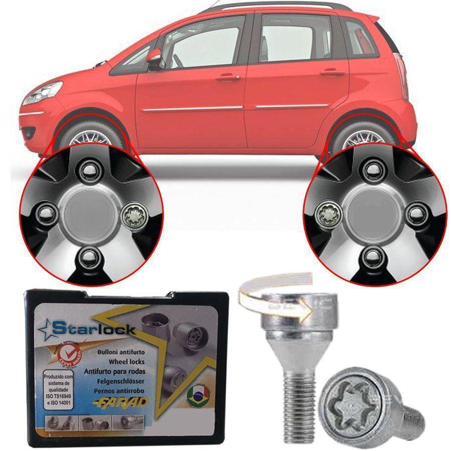 Trava Antifurto Anti Roubo de Roda Parafuso Porca Farad Starlock Fiat Idea 2006 à 2016 Com Mais de 10.000 Segredos A2C/E