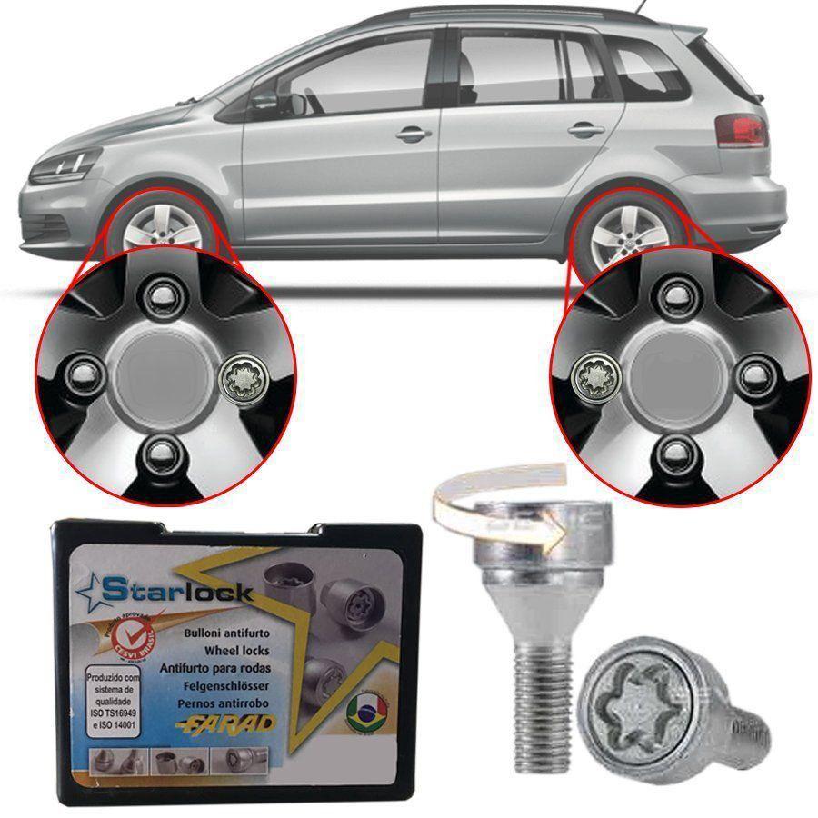 Trava Antifurto Anti Roubo de Roda Parafuso Porca Farad Starlock Volkswagen SpaceFox 2006 à 2019 Com Mais de 10.000 Segredos ZA/E