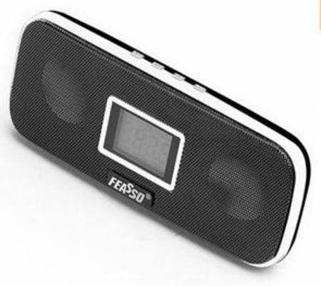 Caixa De Som Portatil Fasom-20 Preta. Fm/Sd/Mmc/ Pendrive Vis. Digit. Bateria 4h