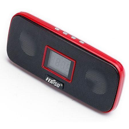 Caixa De Som Portatil Fasom-20 Verm. Fm/Sd/Mmc/ Pendrive Vis. Digit. Bateria 4h