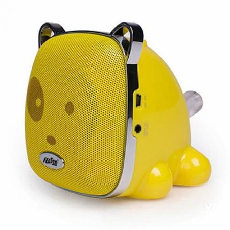 Caixa De Som Portatil Fasom-29 Hi-Fi Fm Cartao Cachorro Amarelo