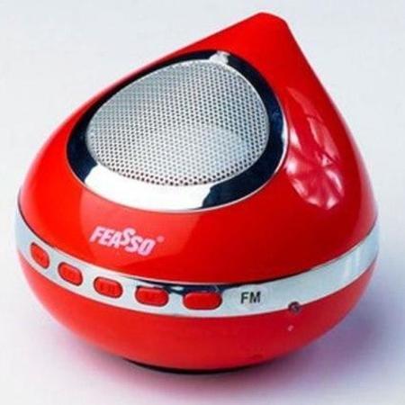 Caixa De Som Portatil Hi-F Usb C/ Radio Vermelho Fasom-25