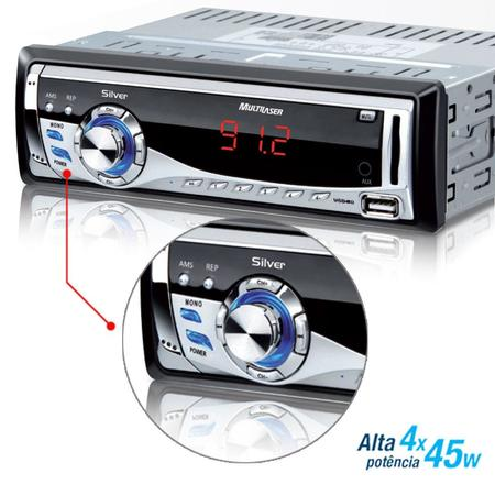 Carro Toca Mp3 Usb/Sd/Fm/Aux Silver P3167 Prata