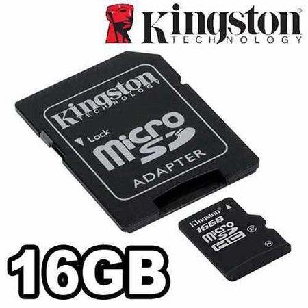 Cartao De Memoria 16gb Sd Micro Kingston C/ Adapt.