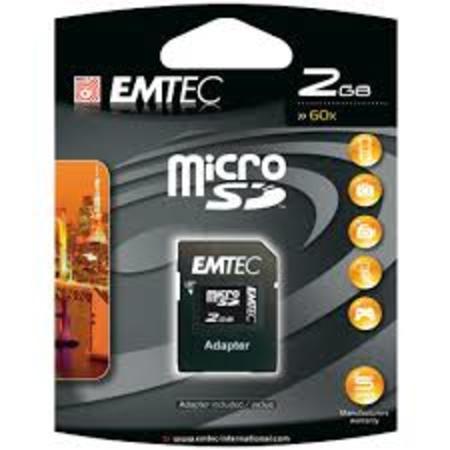 Cartao De Memoria 2gb Sd Micro Emtec C/ Adapt.