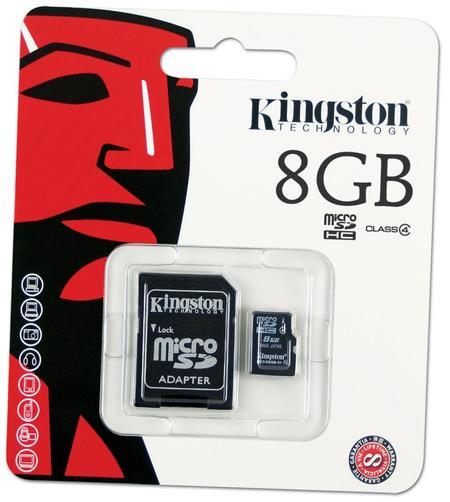 Cartao De Memoria 8gb Sd Micro Kingston C/ Adapt.