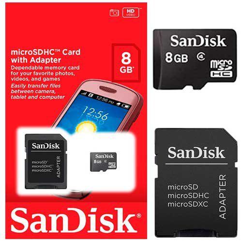 Cartao De Memoria 8gb Sd Micro Sandisk C/ Adapt.