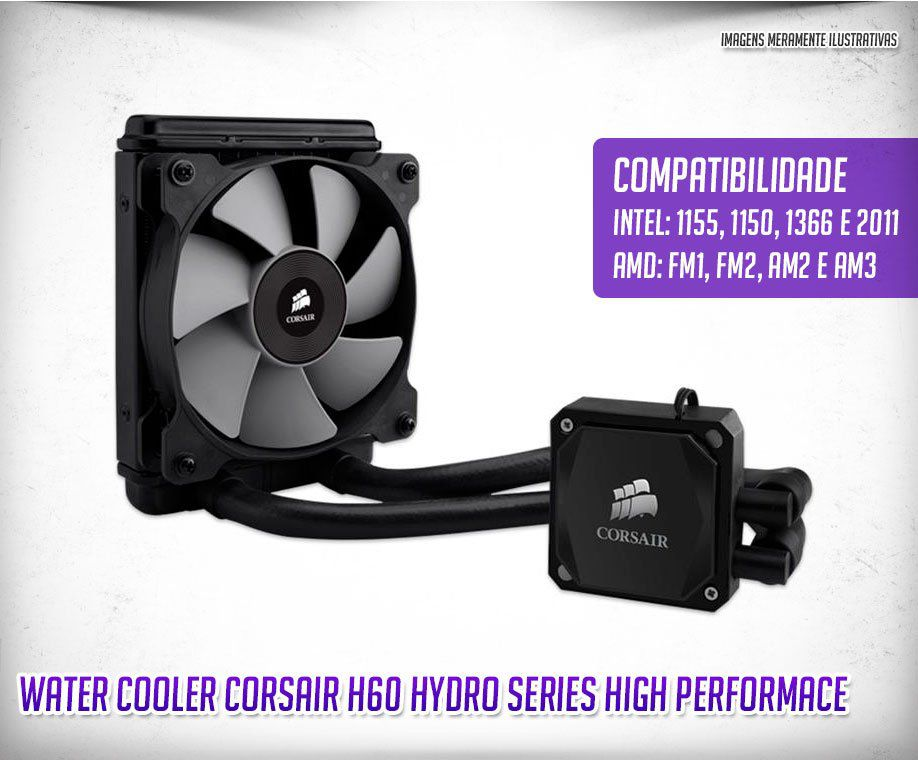 Cooler P/ Intel Ou Amd Water Hidro H60 Corsair