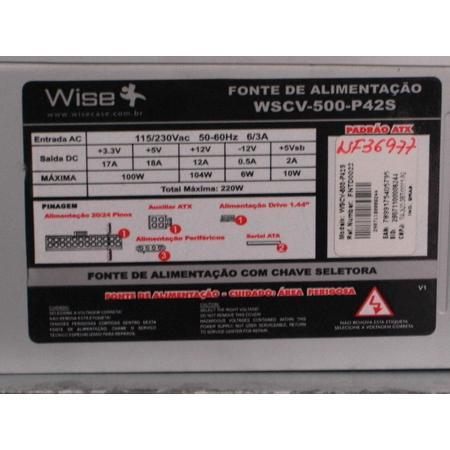 Fonte Atx 220w Real Ws 500 P42s C/ Cabo E Caixa *Box*