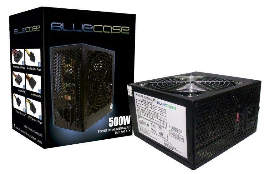 Fonte Atx 500w Real 20 4p C/ Sata Bluecase