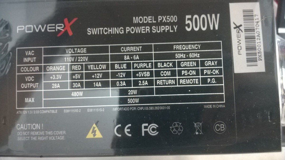 Fonte Atx 500w Real Power X Px500