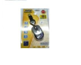 Mouse Mini Optico Retratil Usb Feasso Prata Famm-05