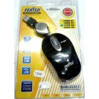 Mouse Mini Optico Retratil Usb Feasso Preto Famm-03