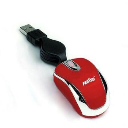 Mouse Mini Optico Retratil Usb Feasso Vermelho Famm-05