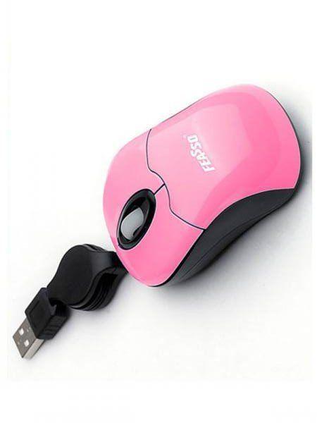 Mouse Optico Retratil Usb Feasso Rosa Famm-03