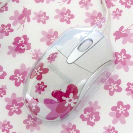 Mouse Optico Usb Bra/Rosa C/ Mouse Pad Em Conjunto Ref. 60 7263