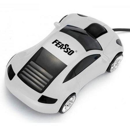 Mouse Usb Feasso Optico Carrinho Prata Famo-12 (Mod. Novo)