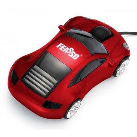 Mouse Usb Feasso Optico Carrinho Vermelho Famo-12 (Mod. Novo)