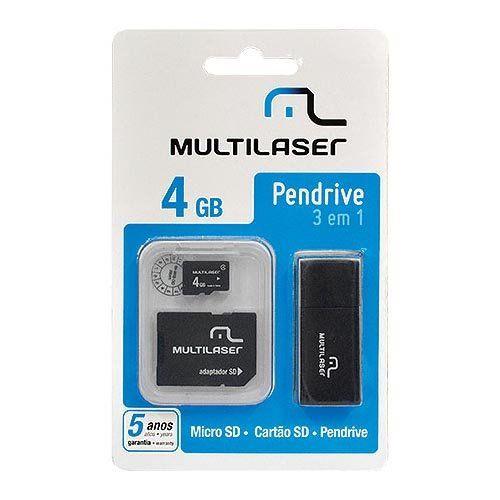 Pendrive 3 Em 1 4gb Multilaser Mc057