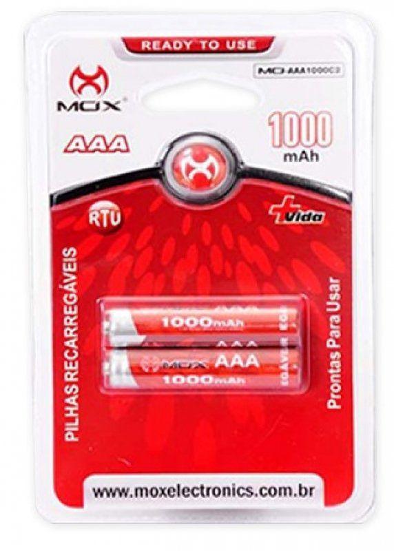 Pilha Recarregavel Mox Aaa 2 Mo-Aaa1000c2
