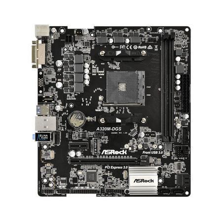Placa Mae Asrock p/ AMD AM4 A320M-DGS DDR4/Dvi/Usb3/Raid