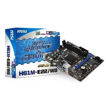 Placa Mae Intel 1155p Msi H61m-E22/W8 Som/Video/Rede/Ddr3