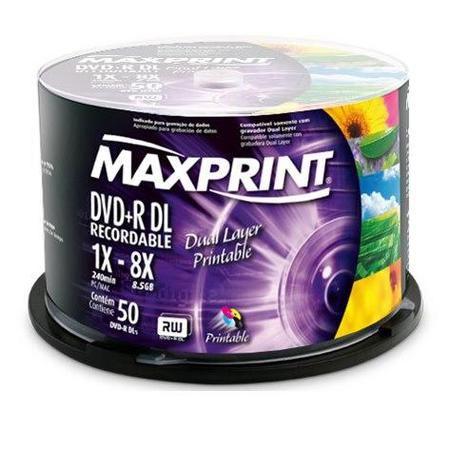 Tubo Dvd+R Dl (Printable) 50uni 8x 8.5gb / 240min Maxprint Ref50 2902