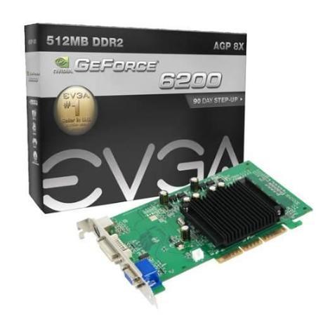 Vga Agp Gf 6200-8x 512mb Evga Dual+Tv