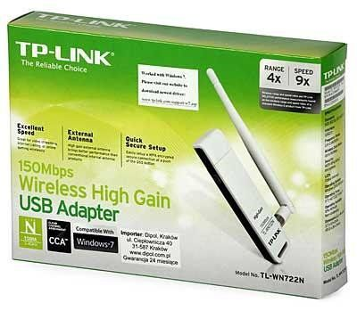 Wireless Adaptador Usb Tp-Link Tl-Wn722n 150mbps (Antena Destac.) *Box*
