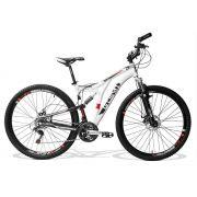 Bicicleta GTS Full Aro 29 Freio a Disco Câmbio Shimano Tourney 21 Marchas Amortecedor no Quadro e Capacete GTS M1 2114 de Brind