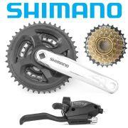 Kit Shimano   Engrenagem, Trocador e Roda livre