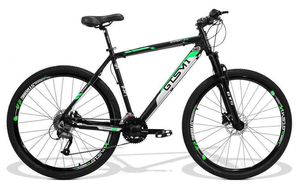 Bicicleta GTS Expert New Aro 29 Freio a Disco Shimano Hidráulico Câmbio Shimano Altus 27 Marchas e Amortecedor + Velocímetro de Brind