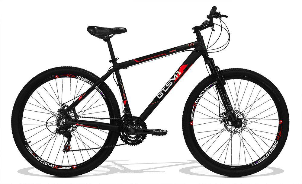 Bicicleta GTS Aro 29 Freio a Disco Câmbio Traseiro Shimano 24 Marchas e Amortecedor + Brindes = Squeeze Energy + Suporte | GTS M1 Walk New