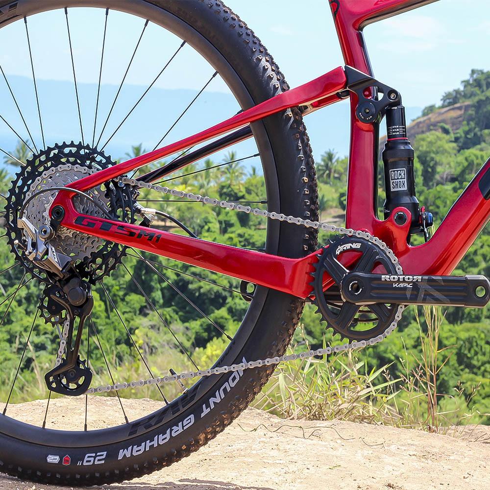 Bicicleta GTS RAV aro 29 Freio Hidráulico Quadro Full Suspension Carbono Red   1x12 shimano XTR