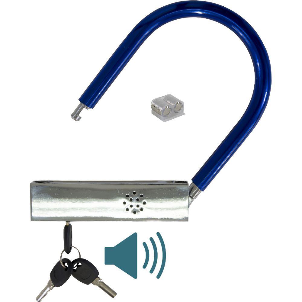 Cadeado LFE-12 Trava U Lock Tranca Bicicleta com Alarme Anti Furto
