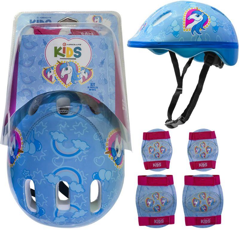 Kit Proteção Infantil Absolute kids Shake - Capacete, Joelheiras, Cotoveleiras