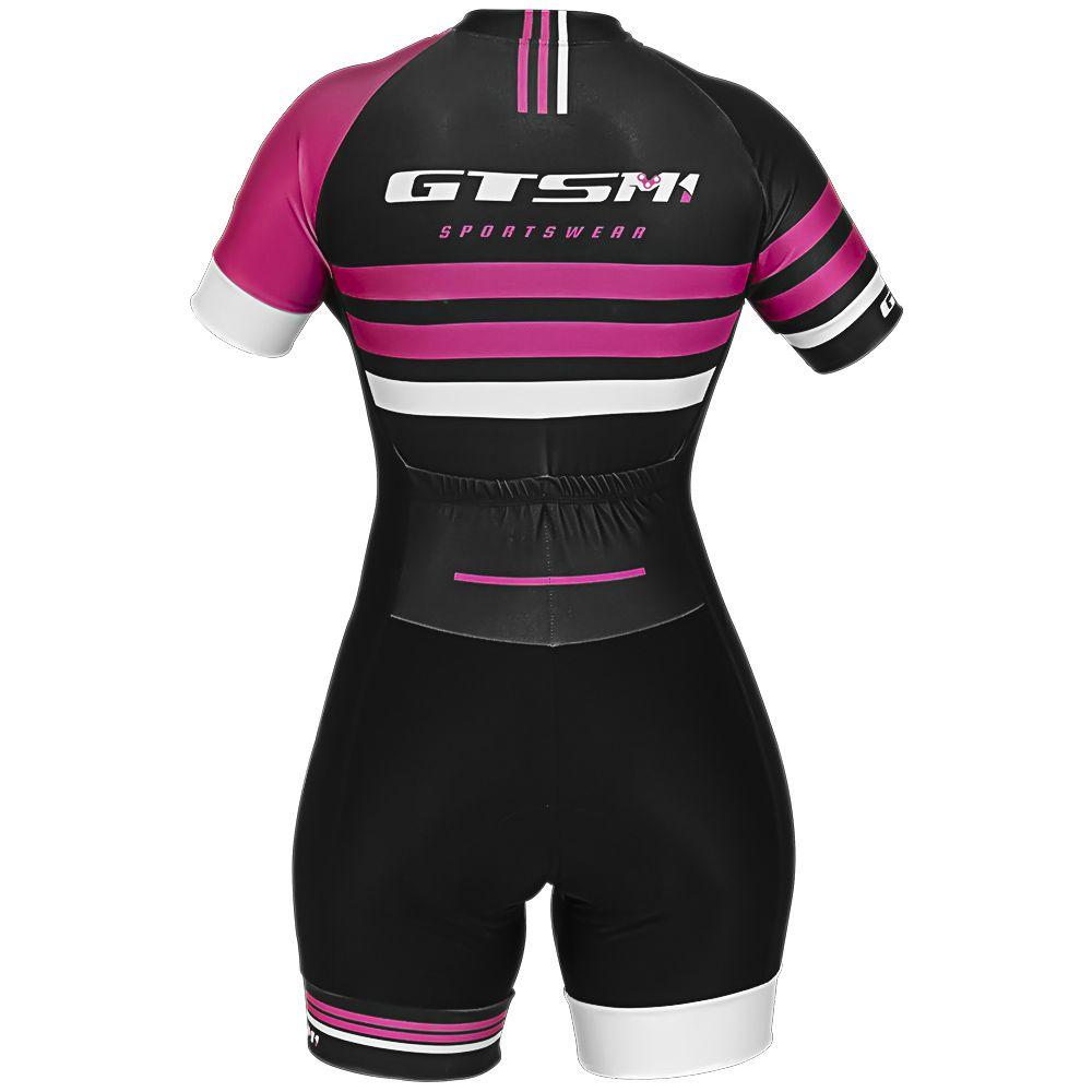 Macacão Feminino Ciclista Gtsm1 Manga Curta com Proteção - UVA / UVB 50 FPS
