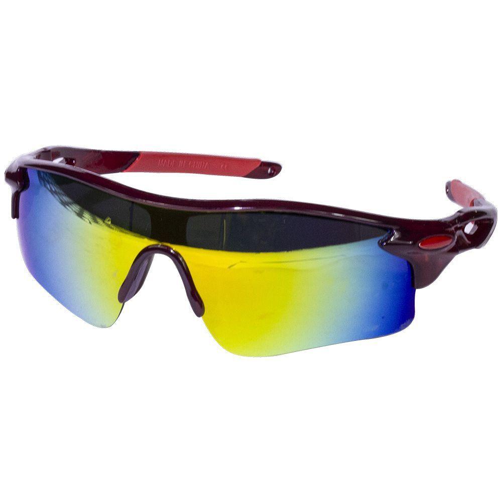Óculos Vermelho com Lentes Multicolor