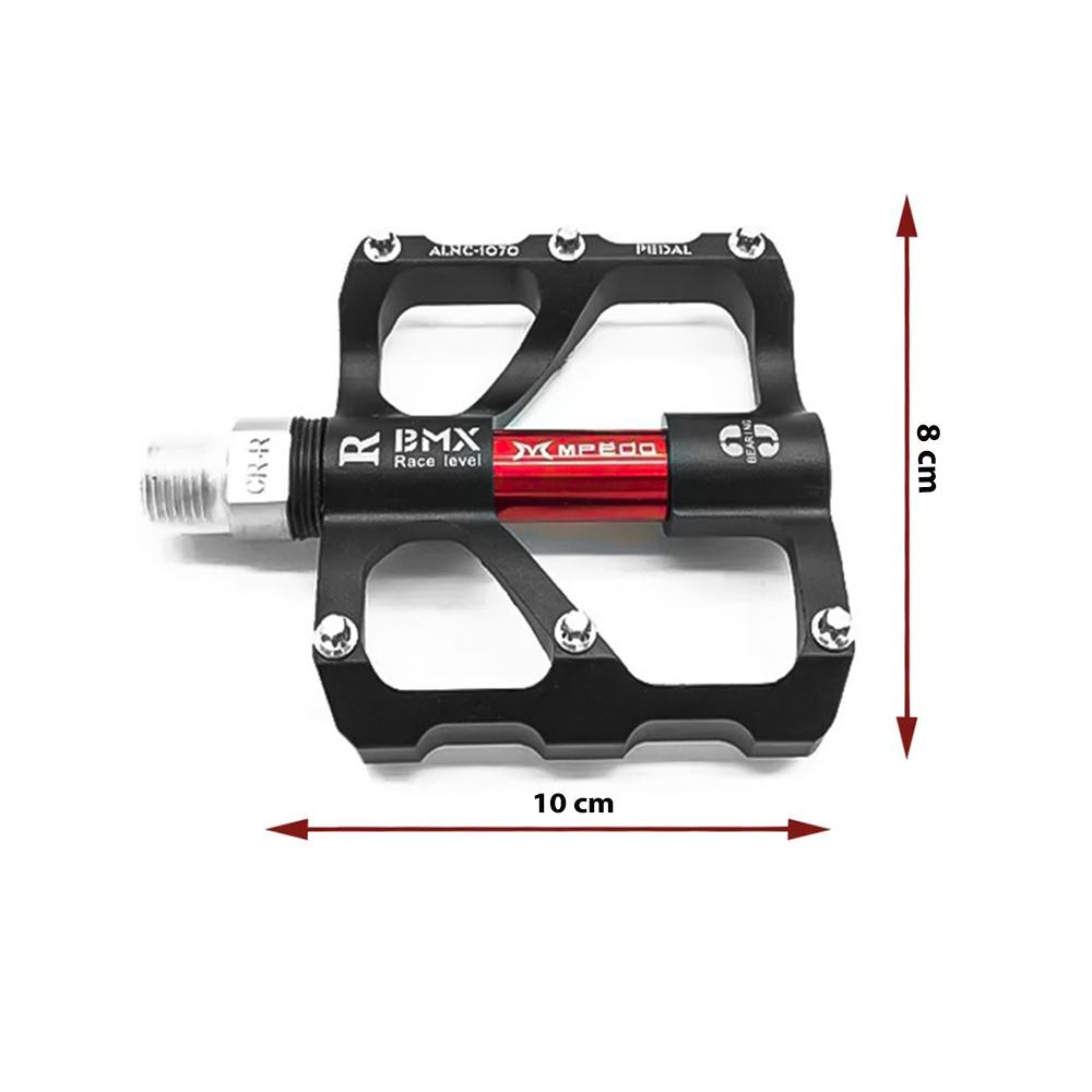 Pedal Plataforma Alumínio Preto e Vermelho Inglesa BMX ALNC-1070