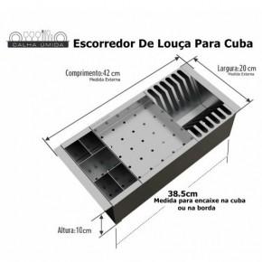 Cesto Escorredor de Louças com 3 Módulos em Inox Calha Úmida