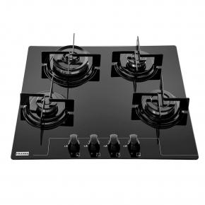 Cooktop 4 Queimadores Glass FHG 604 3G TC FC Bivolt Vidro Preto Franke