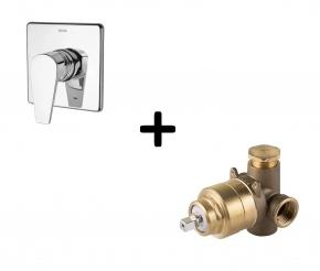 Kit Base Monocomando para Chuveiro Alta Vazão + Acabamento Monocomando AP/BP Lift Cromado Docol