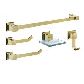 Kit de Acessórios para Banheiro 5 Peças em Aço Inox Gold com Vidro Incolor Ducon